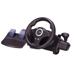 VOLANTE CON PEDALERA GAMER 7 EN 1 PS4/PS3/XBOX 360/XBOX ONE/ANDROID/SWT/PC